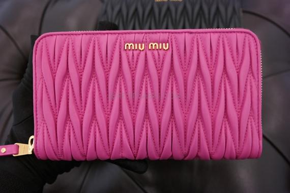 1c9e9139b52 Miu Miu Fuchsia Matelasse Nappa Leather Wallet