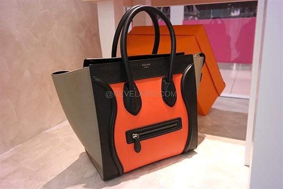 1332676e2c Celine Mini Luggage in Bright Orange Multicolor Elephant Calfskin