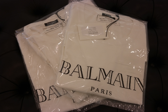Balmain logo printed cotton t shirt for Balmain white logo t shirt