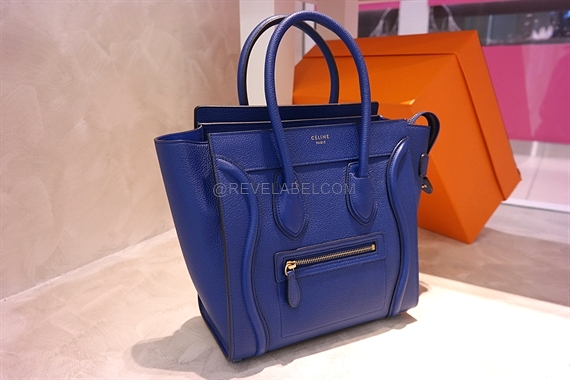 luggage phantom in suede bright blue - celine micro luggage
