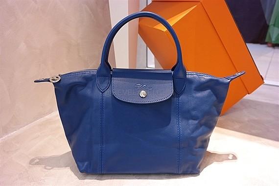 Longchamp Le Pliage Cuir Small Blue 1512737127 | REVE LABEL