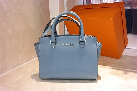 8f8c83969310 Michael Kors Selma Saffiano Leather Medium Satchel Sky 30T3SLMS2L
