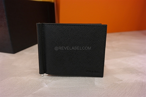 5f6d90b639a8db Prada Saffiano Money Clip Wallet Black 2MN077 - REVE LABEL
