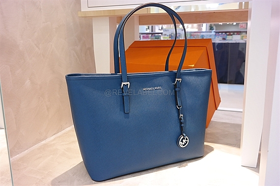 149720628d0cb Michael Kors Jet Set Travel Saffiano Leather Top-Zip Tote Steel Blue ...
