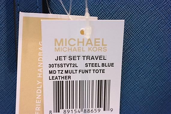 fbef9da89d Michael Kors Jet Set Travel Saffiano Leather Top-Zip Tote Steel Blue ...