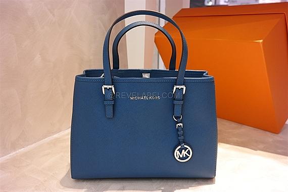 f5e0f32b4e067e Michael Kors Jet Set Travel Saffiano Medium Tote Bag Steel Blue ...
