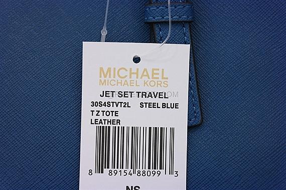 a39950f4d83b98 Michael Kors Jet Set Travel Saffiano Top-Zip Tote Steel Blue ...