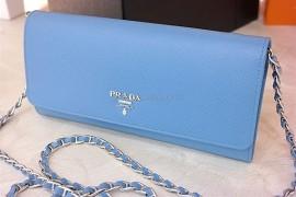 70bb9a7e6cae Prada Saffiano Wallet with Chain Mare 1MT290 QWA F0PN2 (2)