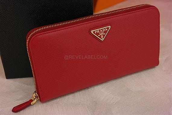 79c2261826f19 Prada Saffiano Zip Wallet Fuoco 1ML506 QHH F068Z - REVE LABEL