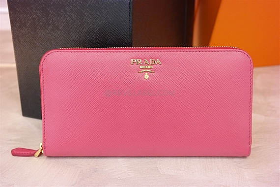 competitive price 0d81a a0de9 Prada Saffiano Zip Wallet Peonia 1ML506 QHH F0505 - REVE LABEL
