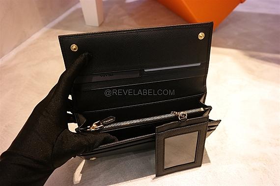 9db7e0e6d19bdf Prada Saffiano Triang Wallet Black 1MH132 QHH F0002 - REVE LABEL