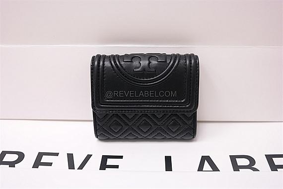 b1a9264103a6 Tory Burch Fleming Small Flap Wallet Black 31460 001 - REVE LABEL