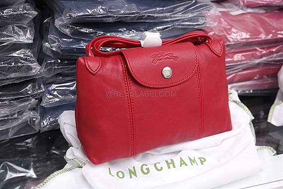 a786afb4a Longchamp Le Pliage Cuir Crossbody Cherry Red 1061 737 045 - REVE LABEL
