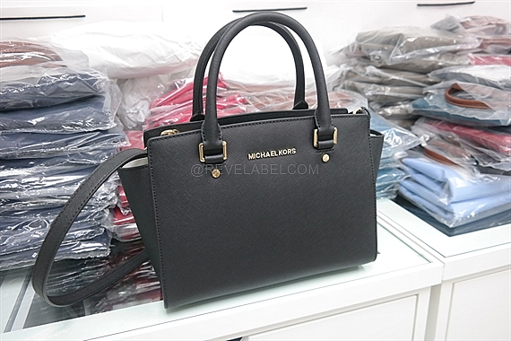 4a3855a11b198 Michael Kors Selma Medium Saffiano Leather Satchel Black 30S3GLMS2L ...