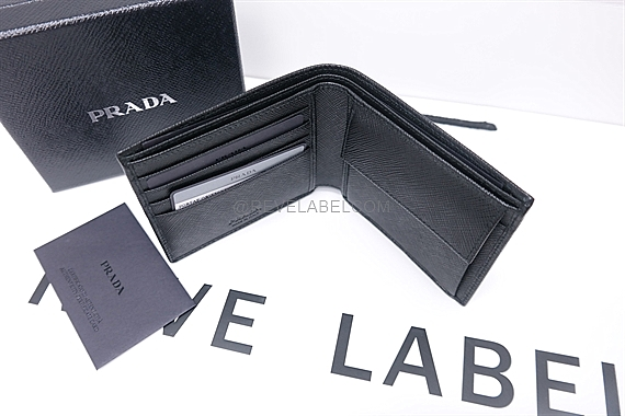 5abb7a4a621f Prada Saffiano Men Wallet(with Coin Compartment) Black ...