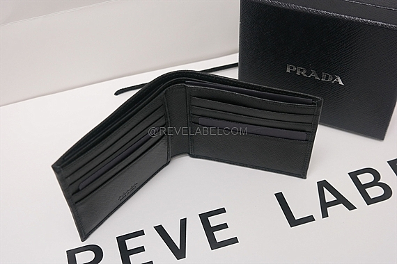0ef05e6c621ca1 Prada Saffiano Triang Men Wallet Black 2MO513 QHH F0002 - REVE LABEL