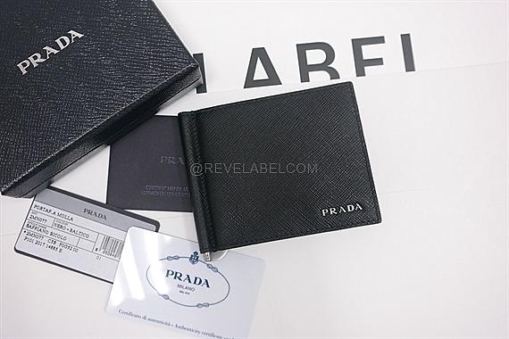 70ca44c9ce2fa3 Prada Saffiano Bicolor Money Clip Wallet Black/Baltico Blue 2MN077 ...